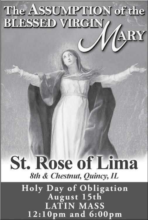 Assumption Holy Day of Obligation Mass